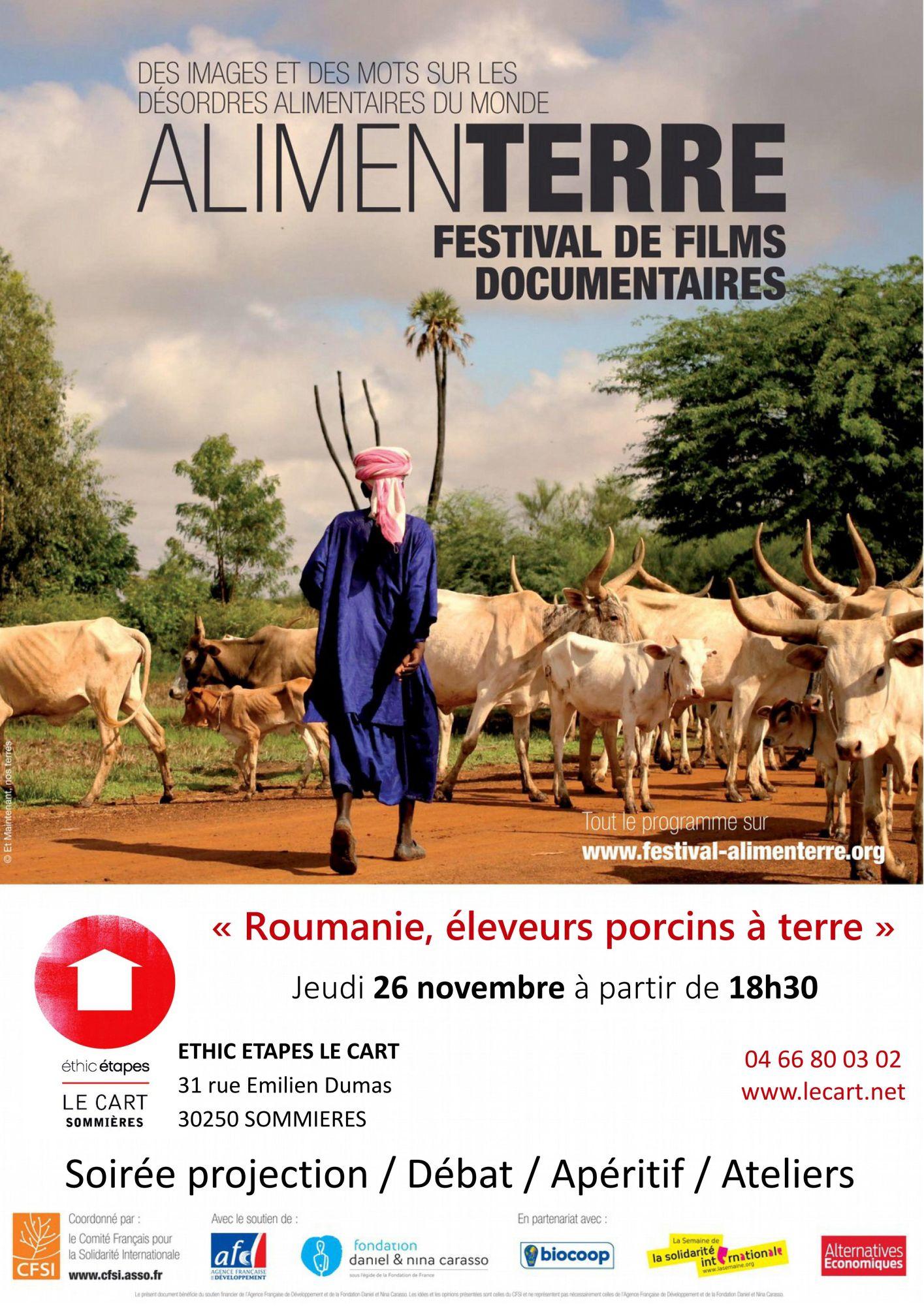 Festival AlimenTerre, soirée projection-débat le 26 novembre à partir de 18h30, au centre Ethic étapes le Cart à Sommières