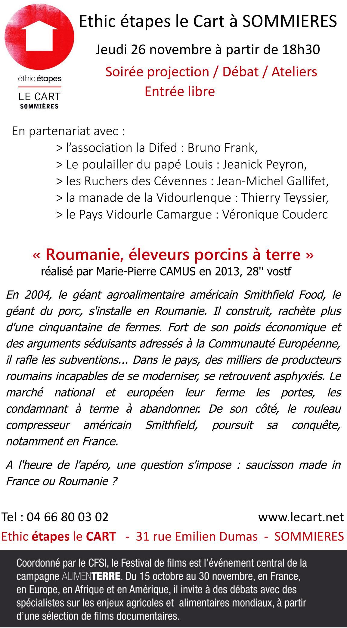 Programme et présentation, soirée projection-débat, festival Alimenterre