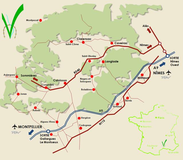 Plan de La Vaunage : visiter la région singulière de La Vaunage lors de votre séjour à Sommières